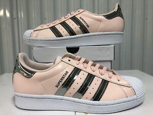 Womens Adidas Originals Superstar Pink Tint Metallic Silver White sz 10.5 FW5014