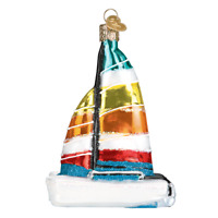 """Catamaran"" (46077)X Old World Christmas Glass Ornament w/ OWC Box"