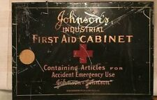 Antique Johnson's First Aid Wall Hanging Cabinet Medical Case Vintage Circa 30s