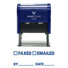 FAXED EMAILED BY DATE Self Inking Rubber Stamp (Blue Ink) - Medium
