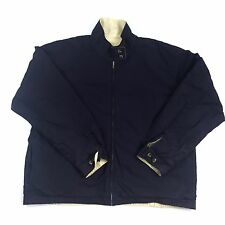 LANDS END Mens Jacket Large 42 44 Reversible Blue Yellow Cotton o208