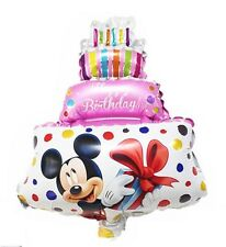 "Happy Birthday cake foil balloon pink Minnie Mickey mouse 39cm x 29cm 15"" x 11"""