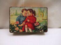 Vintage Advertising Tin Box Of J.B.Sweets Litho Depicting Boy & Girl In Garden *