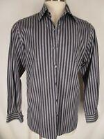 Ermenegildo Zegna Mens Black Stripe Long Sleeve Cotton Shirt L Italy Made