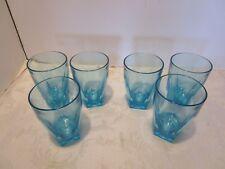 Mid Century Set 6 Glass Tumblers Turquoise 5 point star heavy bottoms 8 Oz. Vtg