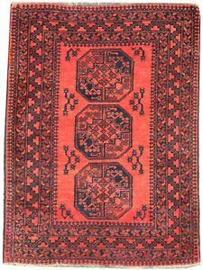 Oriental Carpet, old handmade wool Afghan rug in brown colours 4.9 x 3.3 FT