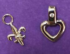 Small Fleur Di Lis & Heart Sterling Silver Vintage Bracelet Charm K14