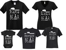 New! Papa Mama Bear Baby Bear Sister Bother Family Matching T-shirts Newborn-5Xl
