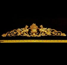 LARGE FRENCH ANTIQUE EMPIRE ONLAY GRIFFIN GOLD GILT DORE WALL APPLIQUE MOULDING