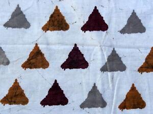 2.5 Yard Hand Block Print Cotton Fabric Triangle Multi Fast Colors Bagru Dabu 01