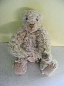 Vintage teddy bear cream mohair velvet paws growler hand sewn pointed nose