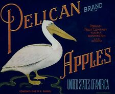 "RARE OLD ORIGINAL 1940 WHITE PELICAN ""PELICAN BRAND"" BOX LABEL YAKIMA WASHINGTON"