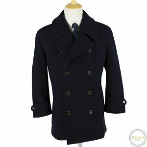 NWOT Ralph Lauren Purple Label Blue Wool Italy Epaulet Dbl Breasted Coat XXL