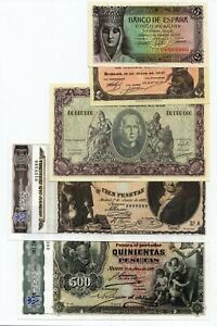 5 Pcs.Old Pesetas Mix Lot Copy Reproductions (NOT REAL)