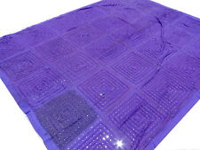 Ethnic handmade Bed cover Mirrors Bedspread King Quilt Purple India Violet Boho