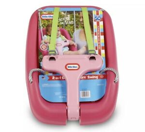 2 in 1 Snug and Secure Kids Toddler Outdoor Baby Swing Hinged T-Bar Magenta