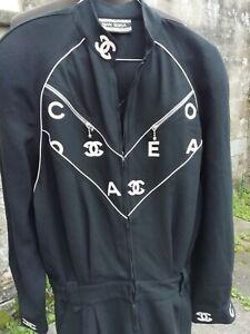 Vtg Original 1980s GIANNI VERSACE Black White Signature Crepe Jumpsuit 12 14...