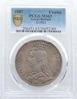 1887 British Queen Victoria Jubilee Head Silver Crown Coin PCGS MS63