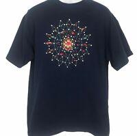Vintage Southwestern Mandala T-Shirt Large Navy Quilted Starburst Single Stich