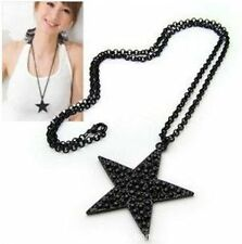 Popular Black Star Pendant Necklace Black Chain Statement Unisex Jewelry