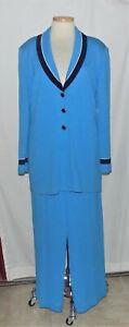 St John Aqua Blue Santana Knit w/Navy & White Trim Jkt & Pleated Pant Suit 12/14