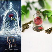 Pretty NecklaceNewest Movie Beauty And The Beast Rose Flower Dome Glass Chain