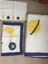 MOON STAR GALAXY THEME KIDS ROOM QUILT SET with SHAM PILLOWCASE TWIN Size NEW