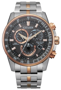 BRAND NEW Citizen Men's Eco-Drive PCAT Gray Dial Rose Gold Tone Watch CB5886-58H