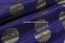 Faux Silk Banarasi Brocade Jacquard Damask Kimono Fabric Material Blue By Yard