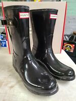 NIB - Hunter Short Black Gloss Woman's Rain boots Authentic New - Pick Size