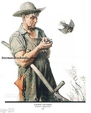 "Norman Rockwell print ""FARMER AND BIRDS"" 11x15""  naturalist love animals Organic"