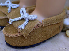 """BUCKSKIN Leather MOCCASINS Doll SHOES fits 18"""" AMERICAN GIRL Doll Clothes"""