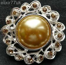 NEW SILVER FLOWER BROWN CRYSTAL FAUX PEARL BROOCH WEDDING PARTY  GIFT BROACH  UK