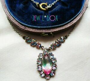 ANTIQUE ART DECO Czech Iris Watermelon Crystal Open Back Drop Vintage NECKLACE