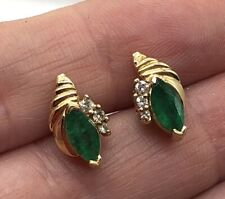 14k Yellow Gold Natural EMERALD Earrings--Very Fine Quality Pair