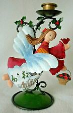 """Angel Christmas Candle Holder, Hand Painted Fabric Angel w/ Metal Holly Stand 8"""""""