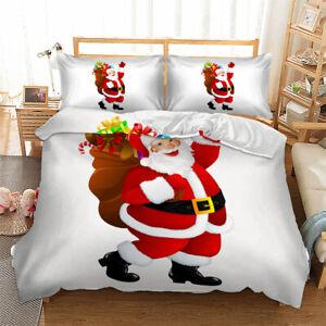 Christmas Santa Claus Doona Duvet Quilt Cover Set Santa Claus All Size Bed Linen