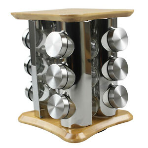 12 Spice Glass Jars Carousel Set Rotating Bamboo Rack Herbs Condiments Organiser