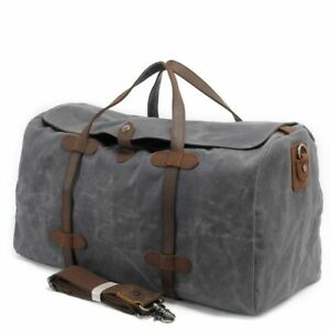 Vintage Men Hand Luggage Bag Large Capacity Canvas Leather Travel Duffle Bags