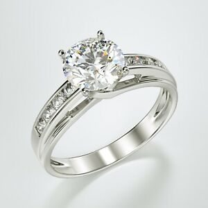 Solid 14K White Gold Solitaire Engagement Ring 1.00 Ct.