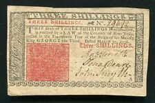 NJ-177 MARCH 25, 1776 3s THREE SHILLINGS NEW JERSEY COLONIAL CURRENCY NOTE AU.