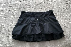 RARE Lululemon Run RESOLUTION SKIRT Black Ruffle Lined with Golf Tennis Shorts 6