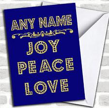 Joy Peace Love Blue Christmas Customised Card