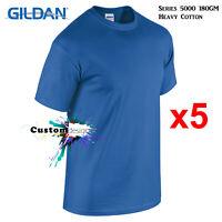 5 Packs Gildan Royal T-SHIRT Basic Tee S - 5XL Men Heavy Cotton