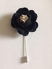 Flor Corsage Broche Pin Sombrero en Negro/Crema BN Gratis Reino Unido P&p