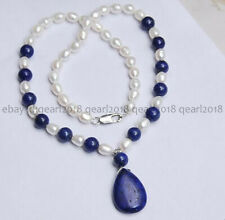 "Natural 7-8mm White Akoya Pearl Blue Lapis Lazuli & Drop Pendant Necklace 18"" AA"