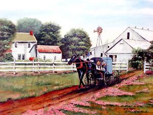 Amish Primitive Folk Art 11x14 Print Americana Arie Taylor