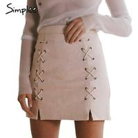 Fashion Women High Waist Lace Up Suede Leather Pocket Preppy Short Mini Skirt UK