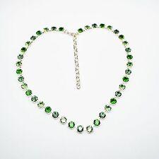 Damen Halskette Collier Tennis 925 Silber Versilbert Swarovski Kristalle Grün