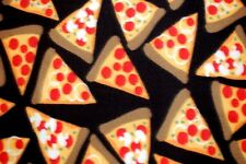 """NEW PRINT:  PIZZA PARTY WITH LARGE SLICES ON BLACK FLEECE MATERIAL 2 YDS 60X72"""""""